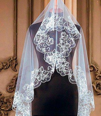 свадебная фата с компьютерной вышивкой