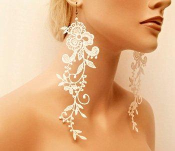 сережки с кружева свадебные