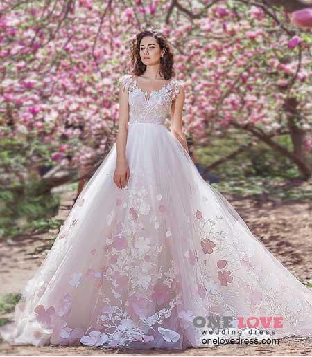 цветочное свадебное платье