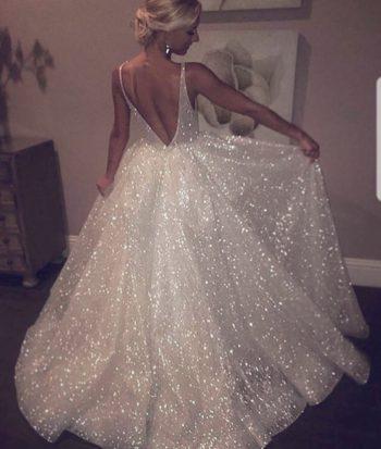блестящее свадебное платье 2019