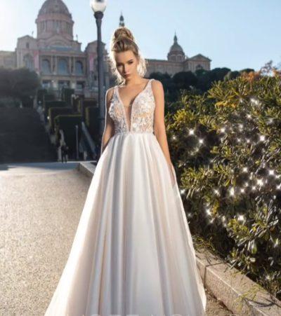 свадебное платье с в вырезом
