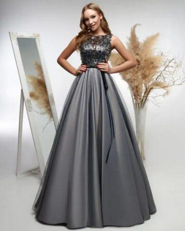 выпускное платье серого цвета