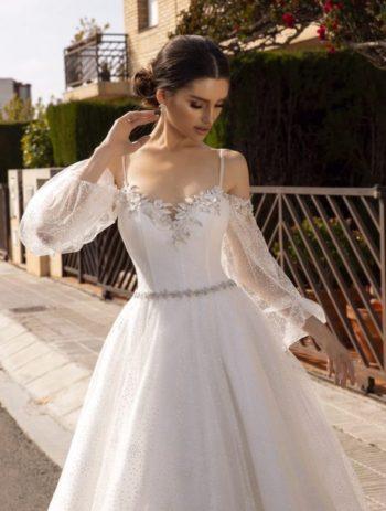 свадебное платье с воздушными рукавами