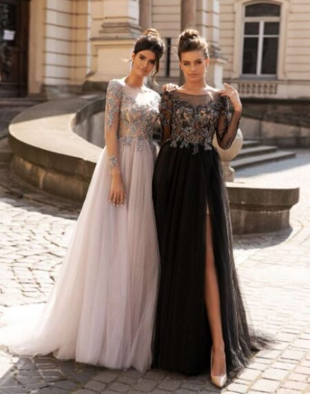Вечерние платья с рукавом