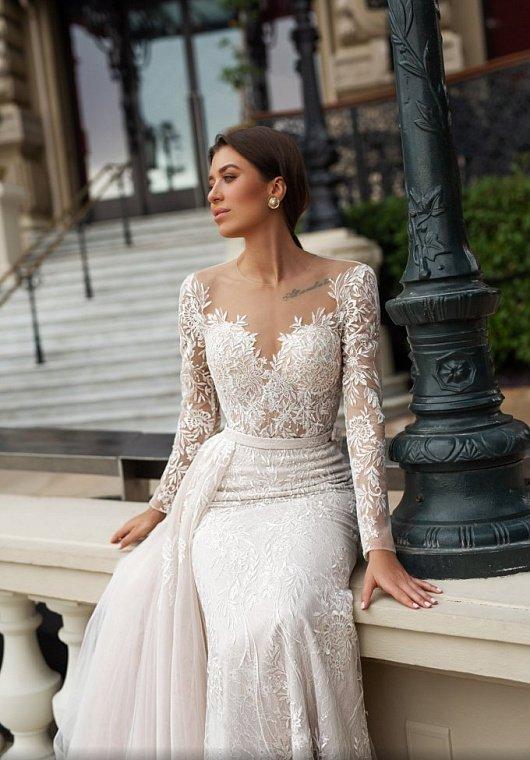 свадебное платье рыбка с рукавами