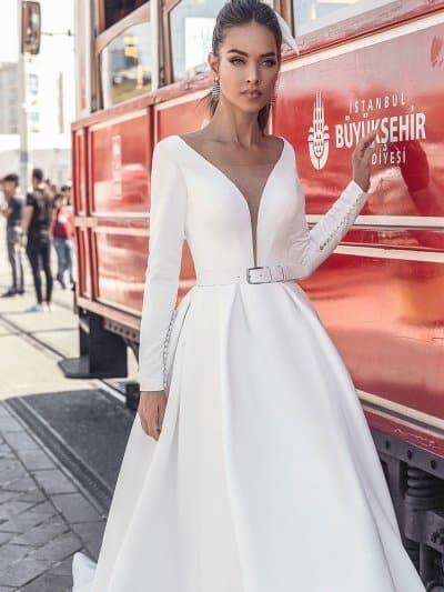 Свадебное платье 232 с V вырезом