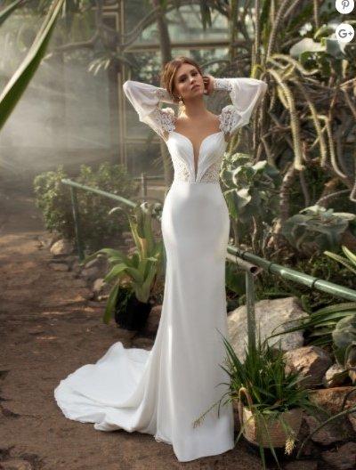 Свадебное платье 51 русалка с кружевными рукавами