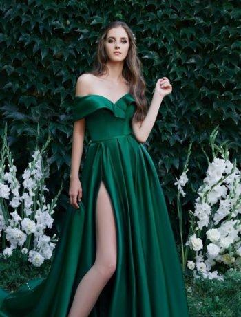 Вечернее платье изумруд
