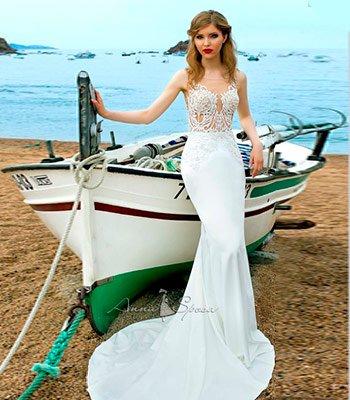 свадебное платье рыбка с прозрачным корсетом