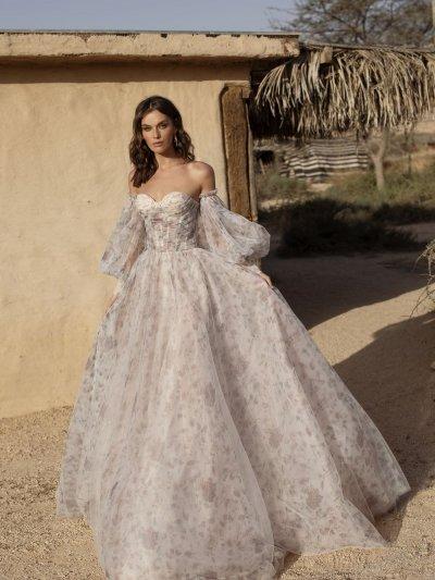 Свадебное платье 35 из фатина с цветочным узором
