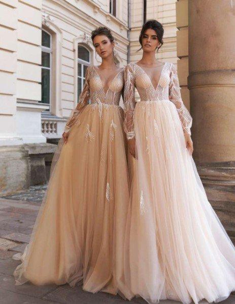 Вечерние платья пудровых оттенков
