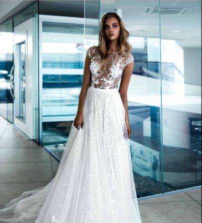 свадебное платье рыбка нюд