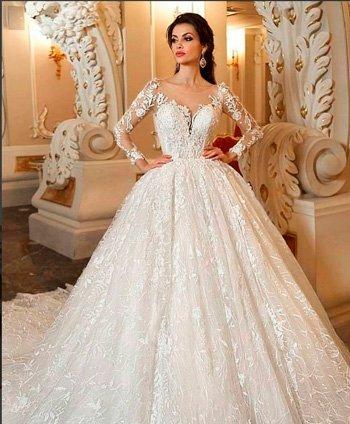 Пышное свадебное платье в цветочном кружеве